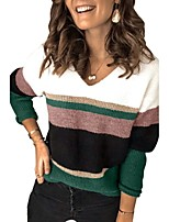 cheap -Women's Basic Knitted Color Block Pullover Long Sleeve Sweater Cardigans V Neck Fall Winter Red Green Beige