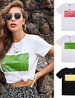 cheap -Women's Tee / T-shirt Artistic Style Crew Neck Cute Letter Printed Sport Athleisure T Shirt Short Sleeves Breathable Soft Comfortable Everyday Use Exercising General Use