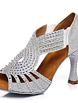 cheap -Women's Latin Shoes Heel Slim High Heel Glitter Rhinestone Sided Hollow Out Silver