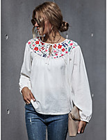 cheap -Women's Blouse Floral Color Block Long Sleeve Patchwork Print Round Neck Tops Loose Basic Basic Top White