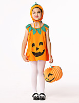cheap -Pumpkin Dress Cosplay Costume Outfits Kid's Girls' Cosplay Halloween Halloween Festival / Holiday Polyester Orange Easy Carnival Costumes / Hat / Hat