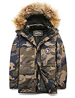 cheap -Men's Hiking Windbreaker Winter Outdoor Camo Thermal Warm Windproof Fleece Lining Breathable Winter Jacket Fishing Climbing Camping / Hiking / Caving Black / Army Green / Camouflage / Blue
