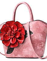 cheap -Women's Bags PU Leather Top Handle Bag Zipper Flower for Daily / Date Black / Red / Blushing Pink / Khaki