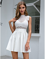 cheap -Women's A-Line Dress Short Mini Dress - Sleeveless Solid Color Lace Summer Sexy Party 2020 White Light Blue S M L