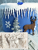 cheap -Christmas Cake Mold Tree Elk Snowflake Icicle Cake Molds Chocolate Moulds For The Baking Cake Tool DIY Sugarcraft Decoration Tool