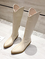 cheap -Women's Boots Wedge Heel Pointed Toe Casual Daily Solid Colored PU Mid-Calf Boots White / Black / Brown