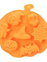 cheap -1pcs Halloween Holiday Style Silicone Cake Mold 7 Cavities Pumpkin Ghost Bat Shape Cookies Chocolate Molds DIY Cake Baking Tools