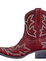 cheap -Women's Boots Cowboy Western Boots Block Heel Pointed Toe Casual Daily PU Mid-Calf Boots Red / Green / Brown