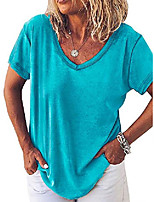 cheap -womens short sleeve v neck cotton shirts summer loose casual tee t-shirt basic tops
