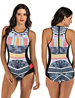 cheap -Women's One Piece Swimsuit Elastane Swimwear Breathable Quick Dry Sleeveless Back Zip - Swimming Surfing Water Sports Summer / Stretchy