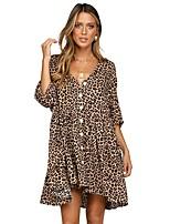 cheap -Women's Shift Dress Short Mini Dress - Half Sleeve Leopard Print Summer V Neck Casual Loose 2020 White Blushing Pink Brown S M L XL