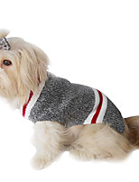 cheap -Dog Coat Stripes Casual / Daily Cute Casual / Daily Winter Dog Clothes Warm Red Gray Costume Plush XS S M L XL