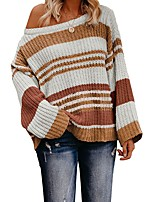 cheap -Women's Basic Knitted Striped Pullover Acrylic Fibers Long Sleeve Loose Sweater Cardigans Crew Neck Round Neck Fall Winter Black Blue Orange