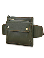 cheap -unisex brown genuine leather waist bag messenger fanny pack bum bag for men women travel sports running hiking & #40;army green& #41;