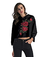 cheap -Women's Daily Cropped Hoddie Floral Basic Hoodies Sweatshirts  Loose White Black