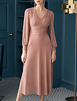 cheap -A-Line Elegant Minimalist Engagement Prom Dress V Neck Long Sleeve Ankle Length Chiffon with Pleats Ruched 2020