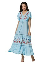 cheap -Women's Swing Dress Maxi long Dress - Short Sleeve Solid Color Embroidered Ruffle Summer V Neck Casual Boho Going out Cotton Slim 2020 Light Blue S M L XL XXL