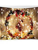 cheap -Christmas Weihnachten Santa Claus Wall Tapestry Art Decor Blanket Curtain Picnic Tablecloth Hanging Home Bedroom Living Room Dorm Decoration Wooden Board Light Polyester