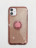 cheap -Case For iPhone 7 8 7 Plus 8 Plus X XS XR XS Max SE 11 11 Pro 11 Pro Max Rhinestone with Stand Back Cover Solid Colored TPU