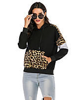 cheap -Women's Hoodie Hoodies Pullover Hoody Black Leopard Print Patchwork Standing Collar Leopard Color Block Cute Sport Athleisure Hoodie Top Long Sleeve Comfortable Everyday Use Daily Casual