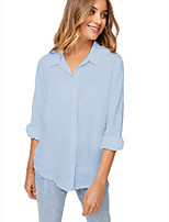 cheap -Women's Blouse Shirt Solid Colored Long Sleeve Shirt Collar Tops Loose 100% Cotton Basic Basic Top White Black Blue