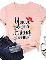 cheap -Women's T-shirt Graphic Prints Letter Tops Basic Basic Top 1 2