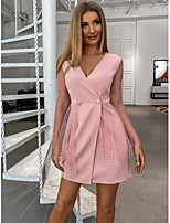 cheap -Women's A-Line Dress Short Mini Dress - Long Sleeve Solid Color Mesh Patchwork Summer Fall V Neck Formal Elegant Daily Going out 2020 Blushing Pink S M L