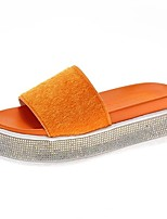 cheap -Women's Sandals Platform Open Toe Casual Basic Minimalism Daily Sparkling Glitter Solid Colored Cowhide Walking Shoes Orange / Black / White / Black