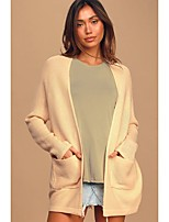 cheap -Women's Stylish Knitted Solid Color Plain Cardigan Long Sleeve Sweater Cardigans Open Front Fall Winter Blushing Pink Light Brown
