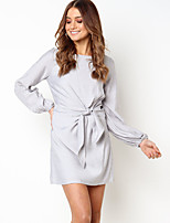 cheap -Women's Shift Dress Short Mini Dress - Long Sleeve Solid Color Patchwork Fall Casual Daily Cotton Slim 2020 Silver S M L XL