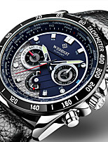 cheap -WISHDOIT Men's Sport Watch Quartz Sporty Stylish Casual Water Resistant / Waterproof Analog Black Black / White Black / Blue / Stainless Steel / Genuine Leather / Calendar / date / day / Chronograph