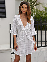 cheap -Women's A-Line Dress Short Mini Dress - Half Sleeve Geometric Backless Patchwork Summer V Neck Sexy Flare Cuff Sleeve Cotton Slim 2020 White S M L XL