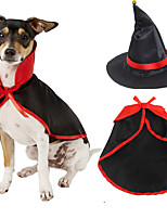 cheap -Dog Cat Halloween Costumes Costume Shirt / T-Shirt Color Block Witch Unique Design Cool Christmas Party Dog Clothes Breathable Black Costume Fabric S M L