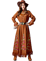 cheap -Cowgirl Dress Cosplay Costume Outfits Adults' Women's Cosplay Halloween Halloween Festival / Holiday Plush Fabric PU(Polyurethane) Brown Women's Easy Carnival Costumes / Belt / Hat / Belt / Hat