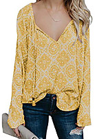 cheap -women's loose blouse long sleeve v neck tassels shirts casual tops (large, yellow)