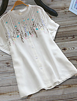 cheap -Women's Blouse Shirt Solid Colored Embroidered Round Neck Tops Loose Basic Basic Top White Yellow