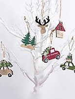 cheap -Christmas Decoration 6 Pieces Wooden Elk Pendant Tree Hanging Ornaments Christmas Crafts Decorations