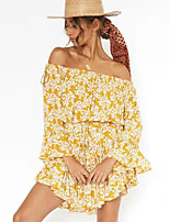 cheap -Women's A-Line Dress Short Mini Dress - Long Sleeve Print Print Summer Off Shoulder Casual Daily Flare Cuff Sleeve Slim 2020 Yellow S M L XL