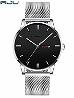 cheap -crrju men wrist watch fashion minimalist quartz analog dress watches sports waterproof mesh stainless steel watches for male classic simple clock with auto date (silver black)