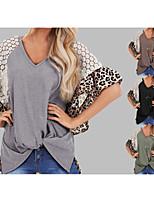 cheap -Women's Blouse Shirt Leopard Cheetah Print Print Lace Trims V Neck Tops Loose Basic Basic Top Black Green Brown