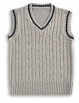 cheap -boys warm vest school casual sleeveless all matches pullovers sweaters grey 5t