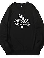 cheap -Women's Pullover Sweatshirt Letter Casual Hoodies Sweatshirts  White Black Blue