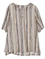 cheap -women& #39;s 3/4 sleeve cotton linen jacquard blouses top t-shirt & #40;l, gray stripe& #41;