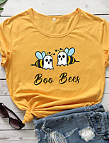 cheap -Women's T-shirt Letter Bee Print Round Neck Tops 100% Cotton Basic Basic Top White Purple Red