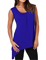 cheap -Women's Blouse Shirt Solid Colored Asymmetric Round Neck Tops Loose Basic Basic Top White Black Royal Blue