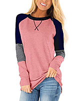 cheap -color block shirts for women tops boatneck winter sweatershirt pink l
