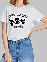 cheap -Women's T-shirt Graphic Prints Letter Print Round Neck Tops Slim 100% Cotton Basic Basic Top White Black Red