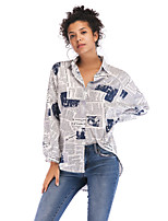 cheap -Women's Going out Blouse Shirt Letter Long Sleeve Shirt Collar Tops Loose Basic Basic Top Blue Red Wine