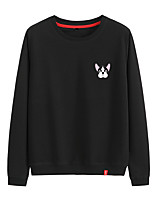 cheap -Women's Sweatshirt Womens Pullover Sweatshirts Black White Pink Cartoon Crew Neck Cotton Dog Cute Sport Athleisure Pullover Long Sleeve Breathable Warm Soft Comfortable Everyday Use Causal Exercising