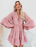 cheap -Women's Swing Dress Short Mini Dress - 3/4 Length Sleeve Solid Color Ruffle Patchwork Fall V Neck Casual Flare Cuff Sleeve Loose 2020 Blushing Pink Light Green S M L XL